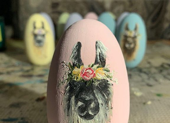 Hand Painted Wood Egg - Rosalynn
