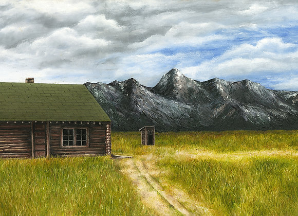"""30"""" x 15"""" Original Oil Painting - Mormon Row historic district in Wyoming"""