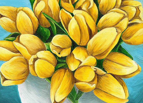"8""X8"" Original Yellow Tulips Oil Painting"