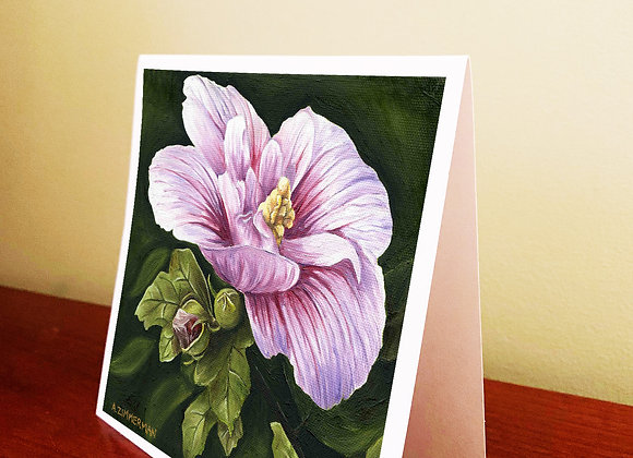 """5.5"""" x 5.5"""" Rose of Sharonn Greeting Card With Envelope"""