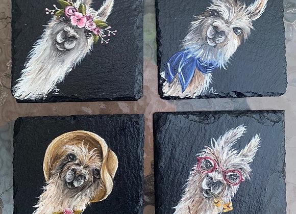 Hand Painted Slate Llama Coasters (Set of 4)