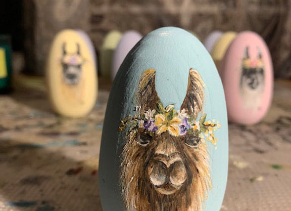 Hand Painted Wood Egg - Conswala