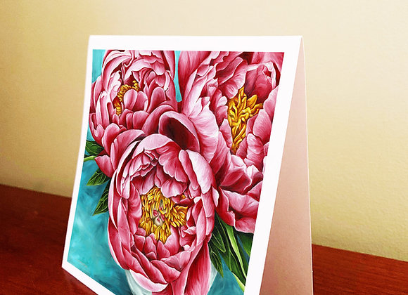 "5.5"" x 5.5"" Peonies Greeting Card With Envelope"
