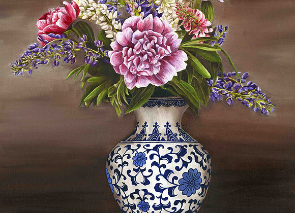 "8""x8"" Vase of Flowers Giclee Print"