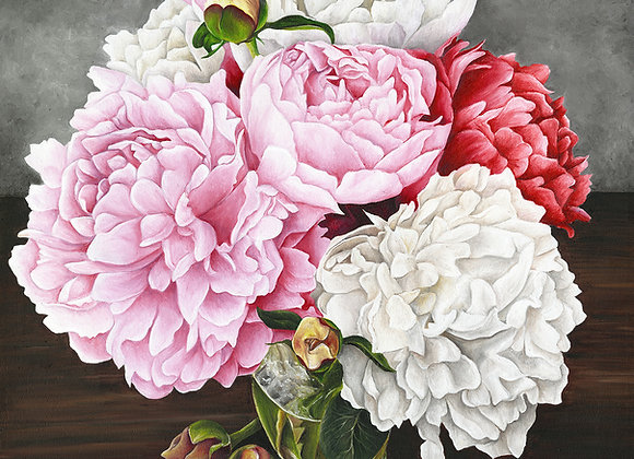 "20""X20"" Original Peonie Oil Painting"