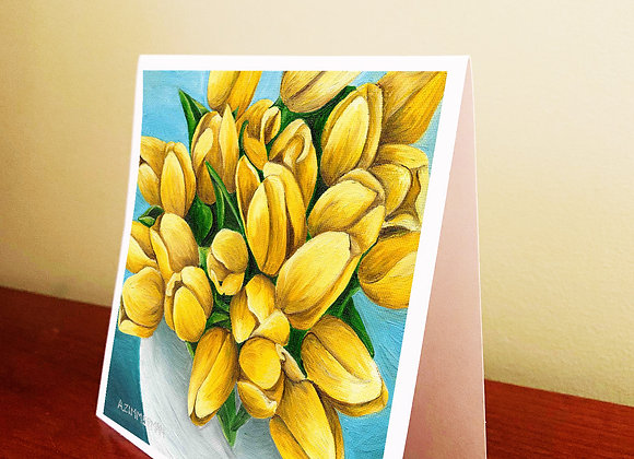 """5.5"""" x 5.5"""" Yellow Tulips Greeting Card With Envelope"""