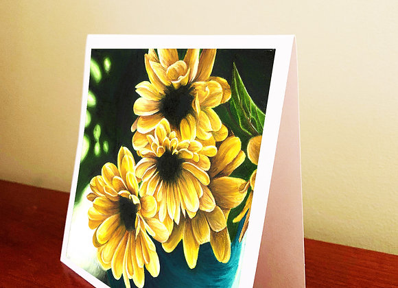 "5.5"" x 5.5"" Yellow Flowers Greeting Card With Envelope"