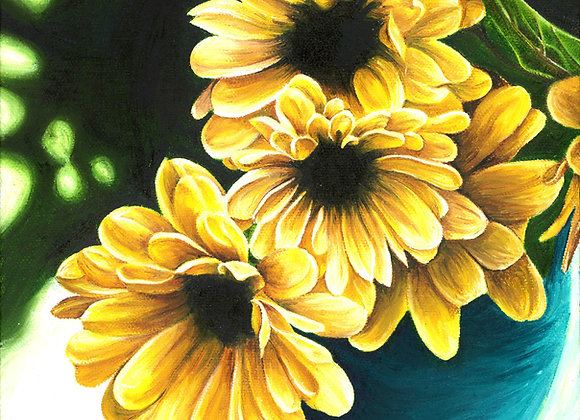 "8""X8"" Original Vase of Yellow Flowers Oil Painting"
