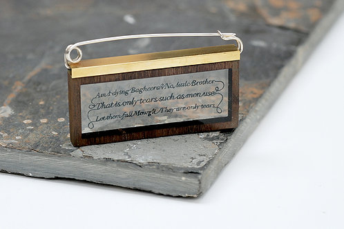 'Boyhood's End' Wood Brass and Silver Brooch