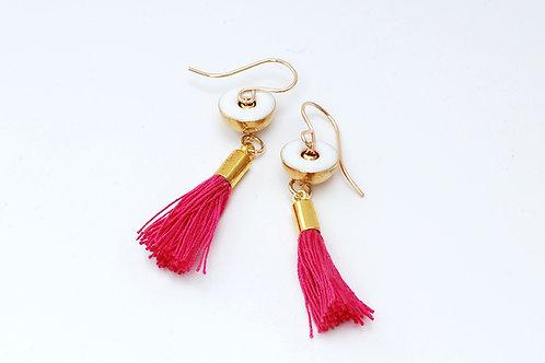 Brass drop earrings with Pink tassel