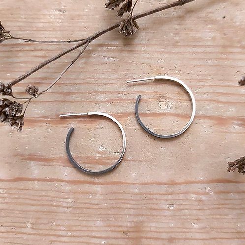 Brushed and oxidised recycled silver hoop earrings
