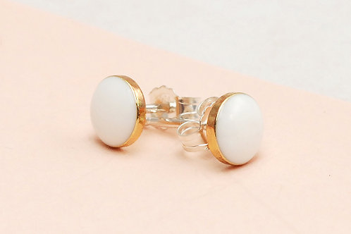 Simple Everyday White and Gold Stud Earrings