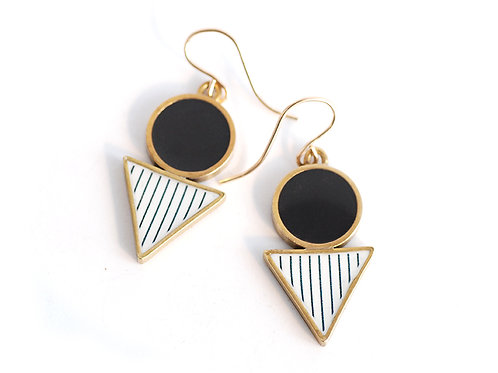 Black Geometric 'Shapes' Drop earrings