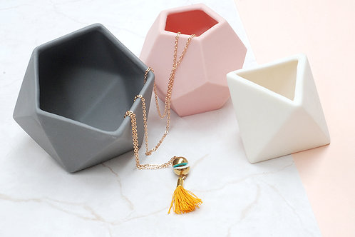 Yellow Tassel necklace with Brass Charm