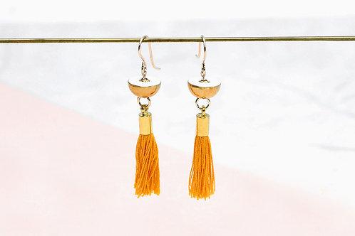Brass Earrings with Yellow tassel charm