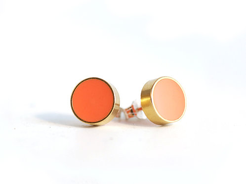 Brass and Coral Resin stud earrings