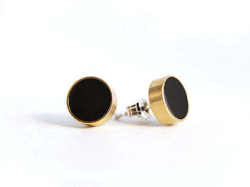 Black and Brass Circle studs