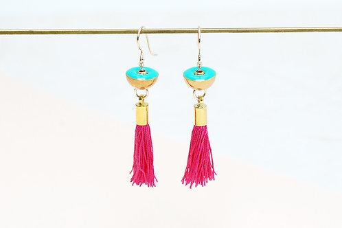 Pink Tassel earrings with Brass Charm