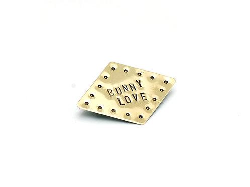 Bunny Love Diamond Shaped Brass Pin Brooch