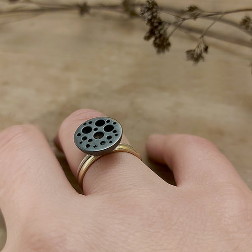 Oxidised Seed Pod ring with silver band