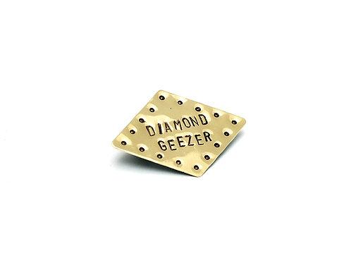 Diamond Geezer Diamond Shaped Brass Pin Brooch