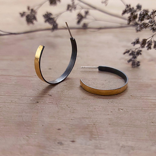 Oxidised Ribbon hoops with Gold edge