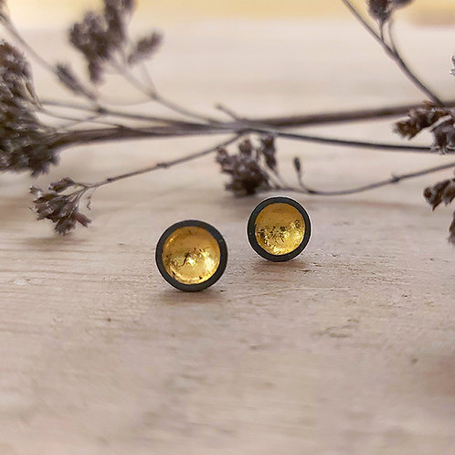Oxidised dome studs with gold accents