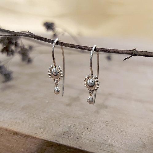 Teeny silver raindrop threaders