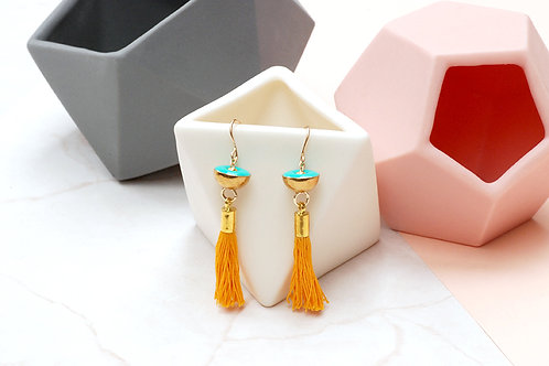 Yellow and Turquoise Tassel Earrings