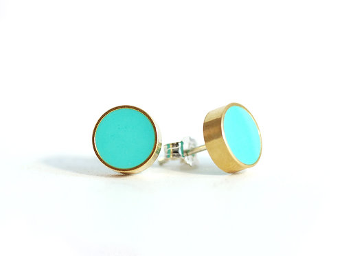 Turquoise and Gold geometric earrings