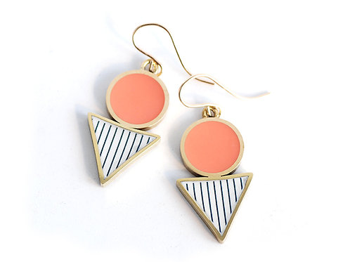 Geometric Drop 'Shapes' earrings in Coral