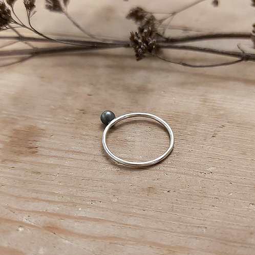 Oxidised Dot ring with silver band