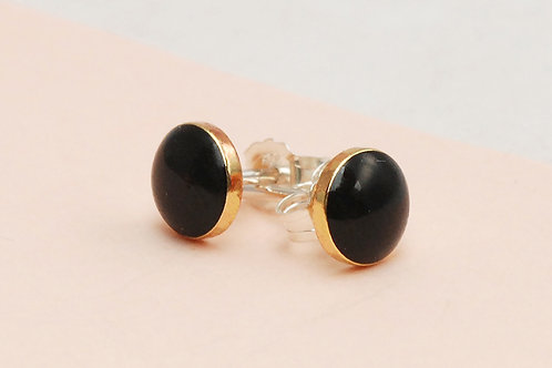 Tiny Everyday Black and Gold Studs