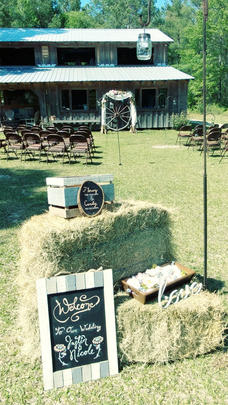 Hay Bales, Wagon Wheels, Outdoor Seating for Wedding