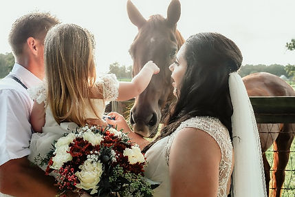 wedding photo of family with horse at The Farm West Prong Acres.jpg