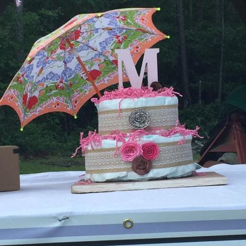 Diaper cake for baby shower celebration at The Farm West Prong Acres