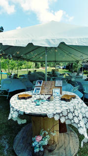 Reception Tent and 'In Memory Of' table.