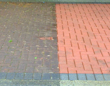 Before and After Mold removal on residential patio.