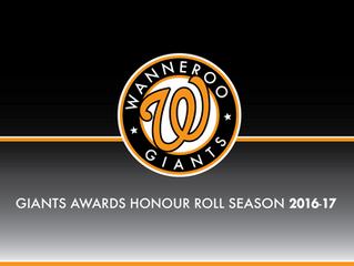 Giants Awards Honour Roll Season 2016/17