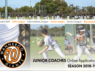 Junior Coaches Online Application - Season 2018/19
