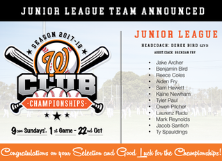 Junior League Club Champs Team Announced - Season 2017