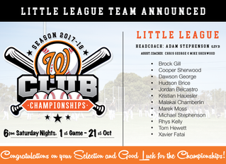 Little League Club Champs Team Announced - Season 2017