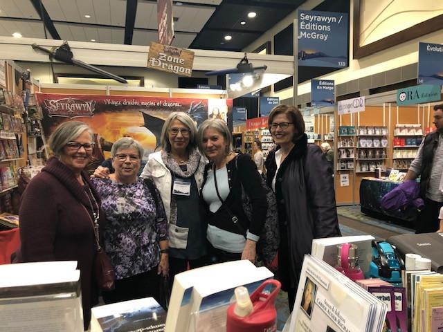 Mes précieuses amies de l'École Sainte-Trinité de Rockland ; (en partant de la gauche) Nicole, Céline, Jo-Anne et Liliane. Salon de l'Outaouais, février 2020