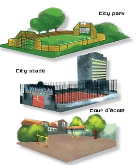 City stade, cour d'école, terrain, sport