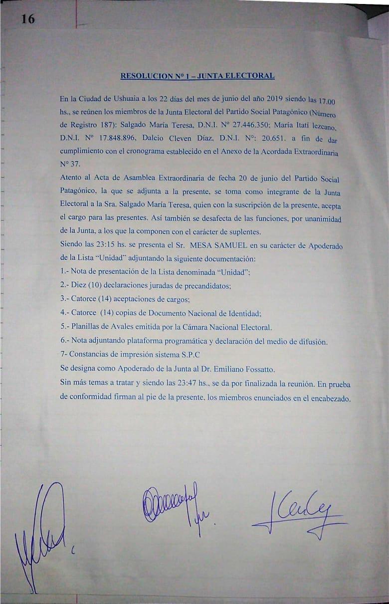 Resolución N° 1 - Junta Electoral