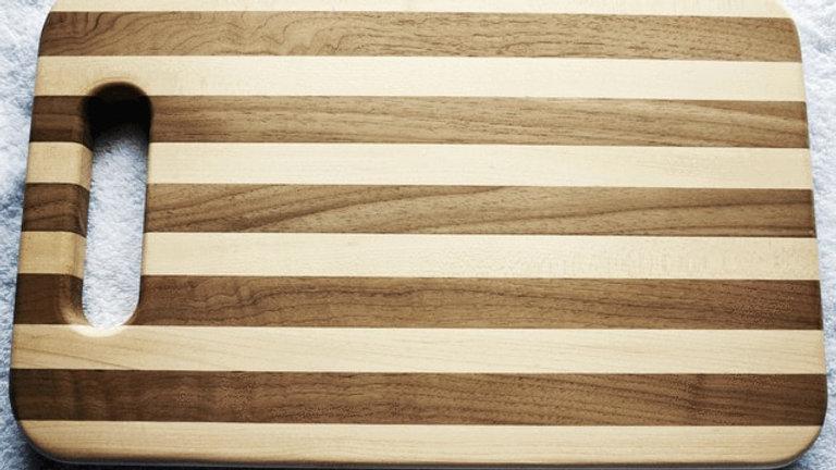 "Walnut/Maple Striple American Hardwood Cutting Board 15x9.25x.875"""