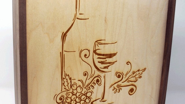 Walnut Wine Box with Maple Front panel with wine engraving