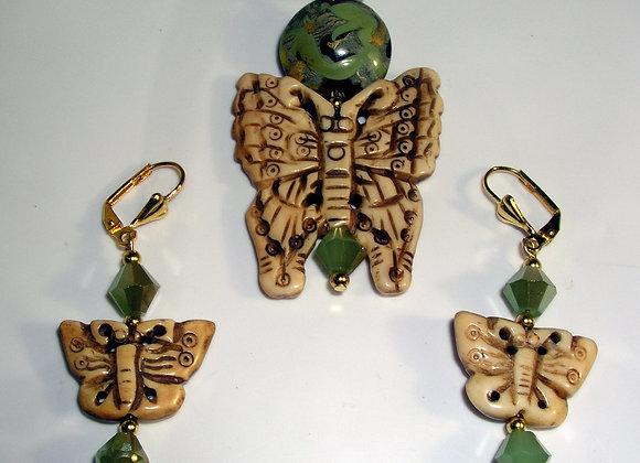 Bone Butterfly Pendant & Earrings Set