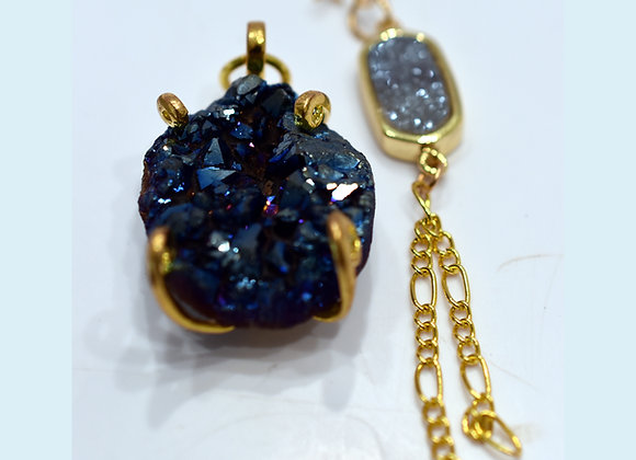 Peacock Blue Druzy Pendant & Earring Set