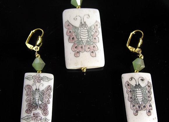 Bone Printed Colorful ButterflyPendant & Earrings Set